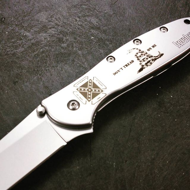 Loving this customer laser engraving job for one of our customers. dtom socv sonsofconfederateveterans DontTreadOnMe knives LaserEngraving