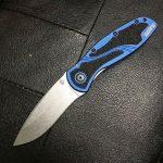 Kershaw Blur 1670NBSW Knife. Blue handle, stonewashed blade.