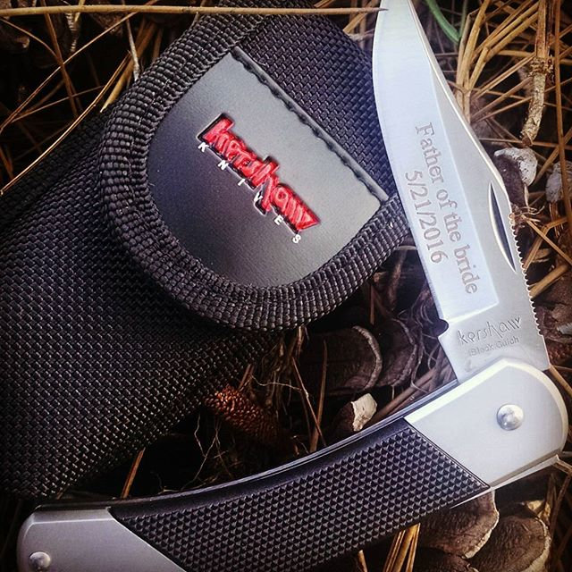 Kershaw Gulch Knife 3120. Congratulations to this Bride and The Father of the Bride. Custom engraved folding knife and sheath. kershawknives customengraving groomsmenģifts gulch3120