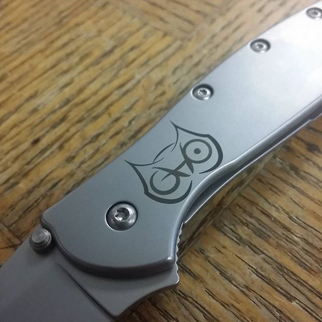 Custom logo engraving of an owl on this Kershaw Leek  #owl #kershawknives #LaserEngraving