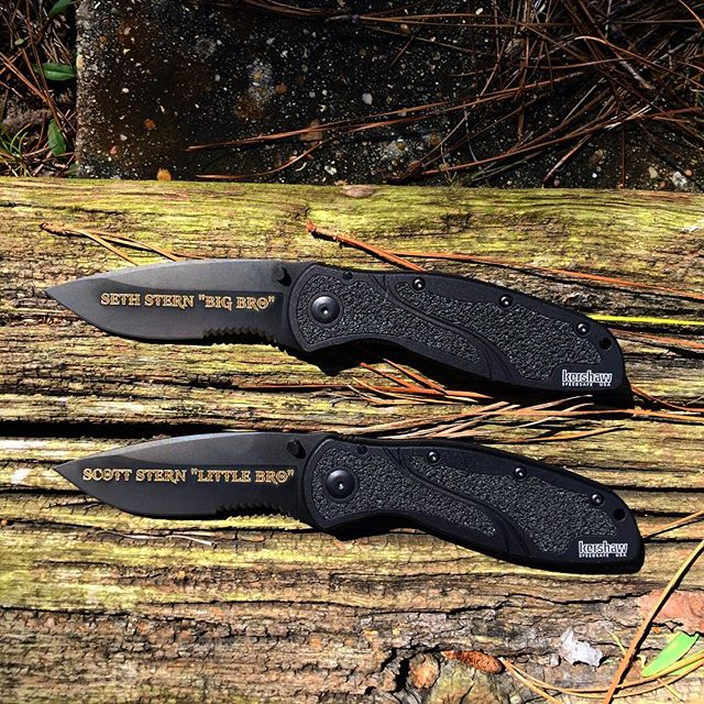 Personalized engravings done in Gods of War font for these brothers! Kershaw Blur 1670BLKST. Everyone wants their name on their EDC- get yours now! #engravedknives #engravinggifts #personalizedknives #groomsmengifts #kershawknives #blur #1670blkst