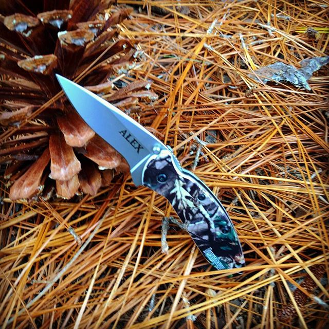 Kershaw Scallion Camo 1620C- engraved in God's of War font.  Going out today to this lucky guy - Get yours today too!  #engravedknives #kershawknives #camo #camouflage #scallion