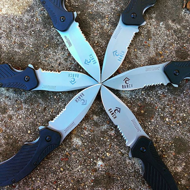 Kershaw Clash 1605ST- half serrated blade that is 3.5 inches long.  Logo for company engraved on blade. We can do your logo too!  #kershawknives #kershawclash #engraving #logoengraving