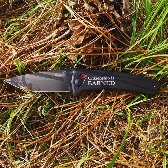 Kershaw 7300BLK Automatic knife. Engraved in Times New Roman. All good things in life are earned not free.  #7300blk #automaticknives #kershaw #engravedknives