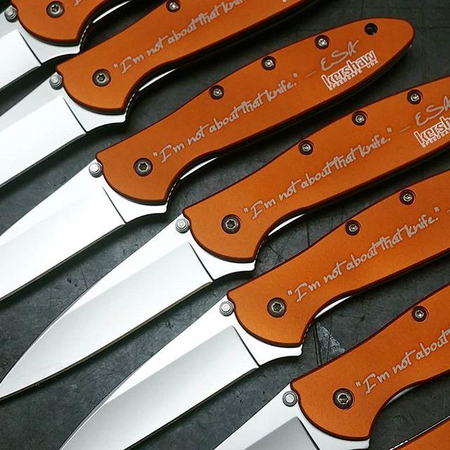 Laser engraving on orange Kershaw Leek knives model 1660OR  #laserengraving #kershawknives