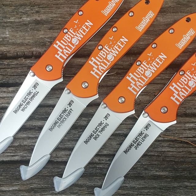 Hubie  Halloween, an upcoming movie starring Adam Sandler and Kevin James, is the focus of this laser engraving project. Shown are commemorative gifts for the rigging crew.  Kershaw-Knives.net  #hubiehalloween #adamsandler  #kevinjames #keshawknives #thankyouforyourbusiness