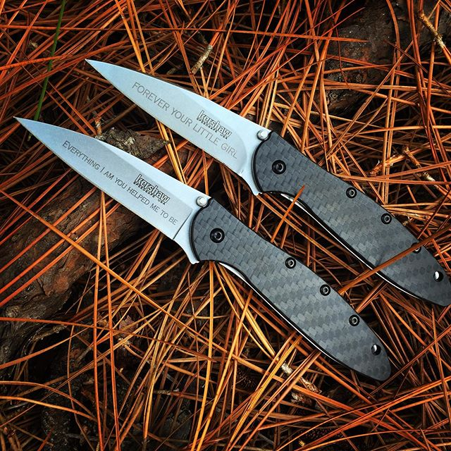 Kershaw Leek Carbon Fiber Knife 1660CF.  Exquisite handle and blade was engraved in Copperplate font. Give a gift they want and will proudly use- made in the USA. #carbonfiber #carbonfiberknives #1660CF #perfectgifts #USA