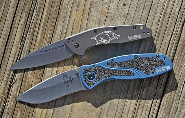 One couple's Christmas gift to each other - his/her Kershaws. Each has personalized laser engraving, adding that sentimenal touch. There's still time to get a Kershaw for yours for Christmas if you use Priority Mail shipping.  https://www.Kershaw-Knives.net  #kershaw #kershawknives #knives #laserengraving #laser #coolgifts