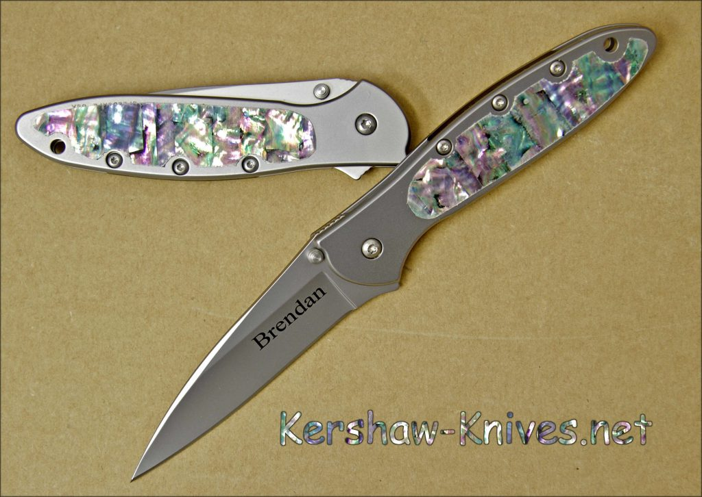 Kershaw Leek Knife with Abalone Handle Overlay - Serrated Blade