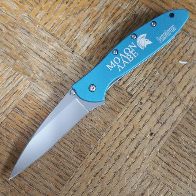 Molon Labe Engraved Kershaw Leek Knife