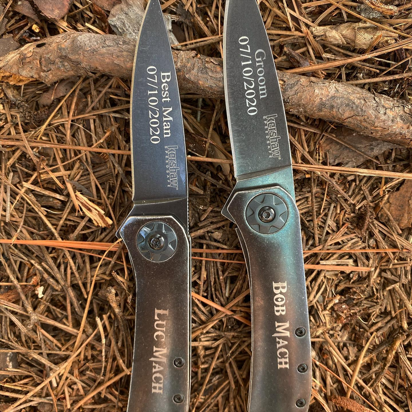 Kershaw Amplitude 3.25 knife 3871BW was just engraved for this Groom. Gods of War font on the handle and Times New Roman font on the blade. Congrats to this groom and bride! #amplitude #kershawamplitude #groomsmengift #groomsmengiftideas #3871BW