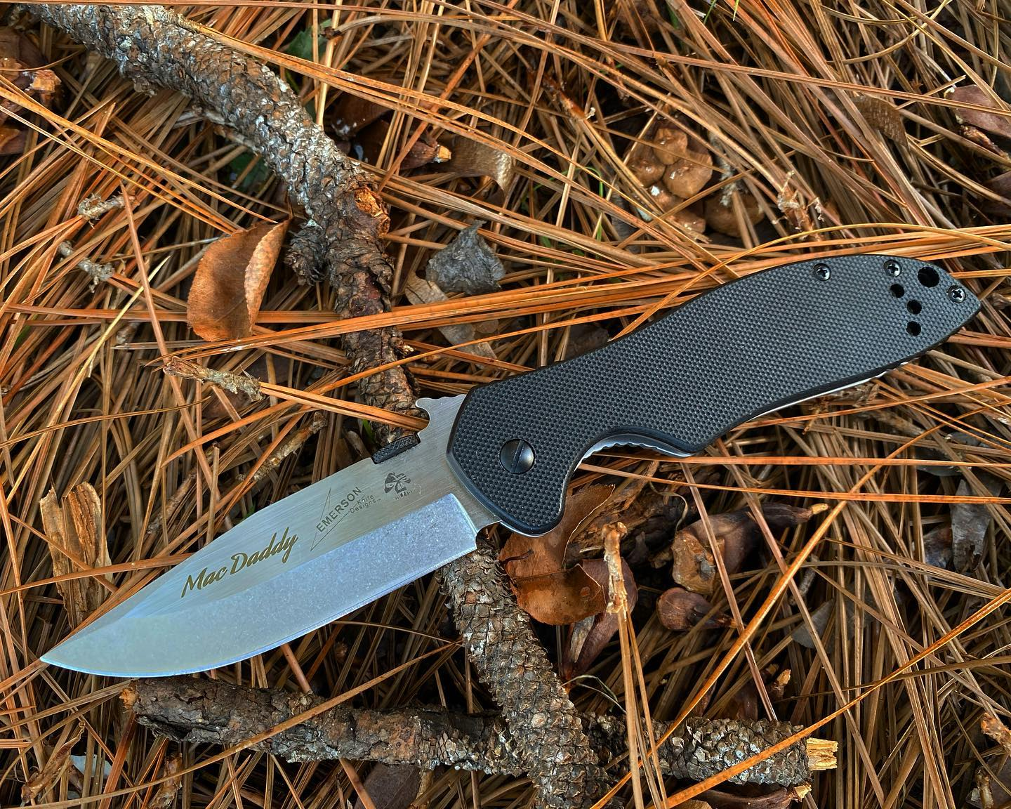 Kershaw Emerson 6034 CQC-6K knife with engraving done in calligraphy quil font.  Don't mess with this MacDaddy's knife! #emersonknives #6034 #engravedknives