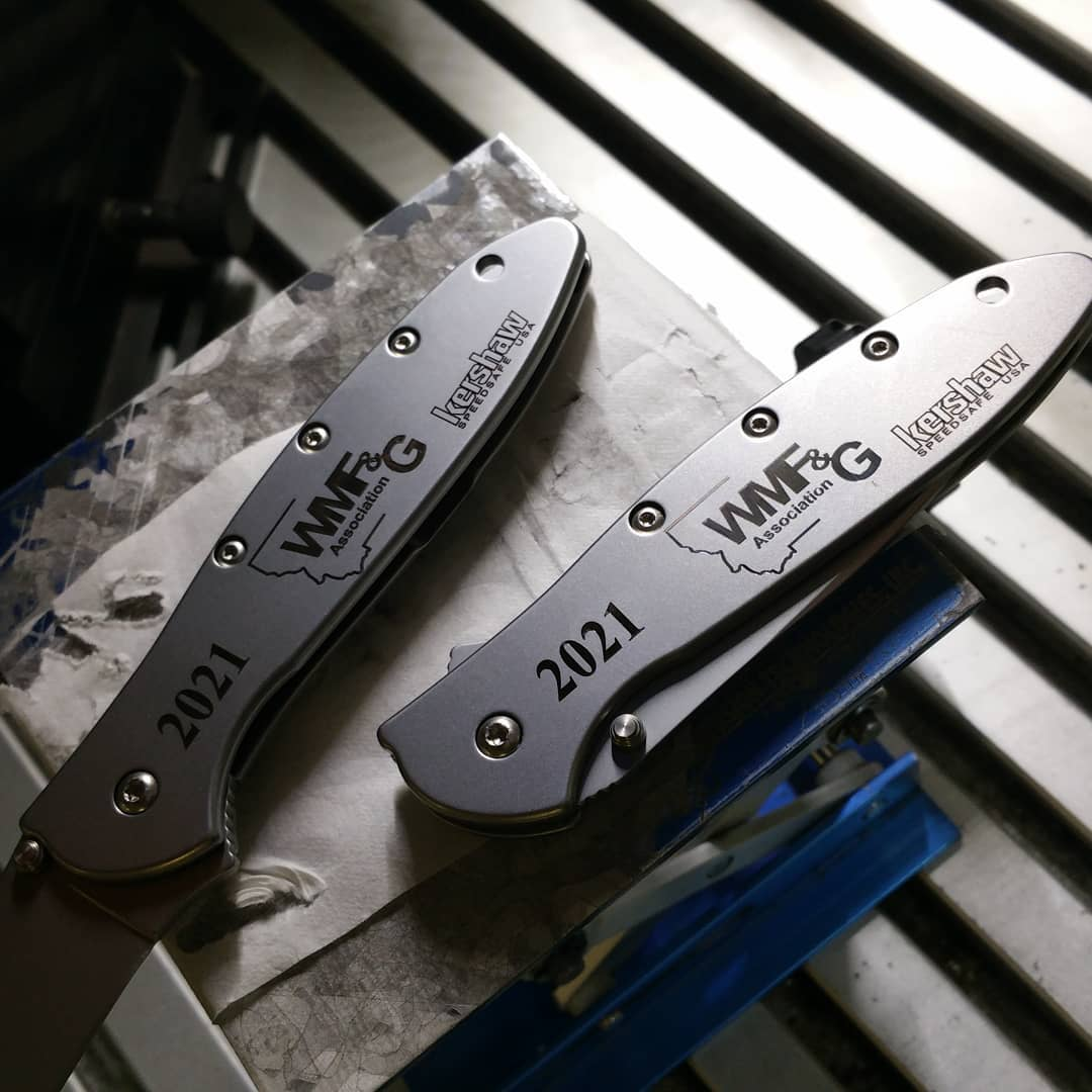 Burning the midnight oil this Friday night making sure he orders of our customers ship in a timely manner.  Kershaw-Knives.net  #kershaw #laserengraving #kershawleek