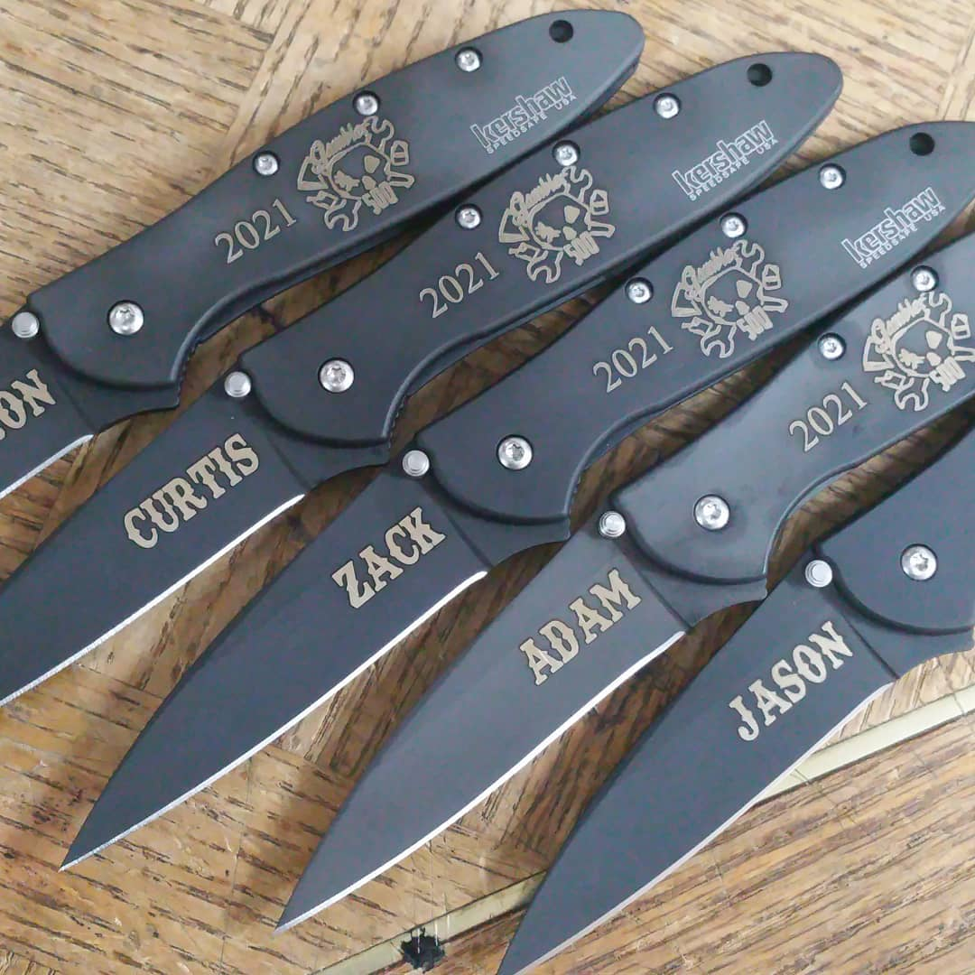 This gambling club likes their names engraved in Texas Tango font.  Show here are five engraved Kershaw Leek model 1660CKT.  Kershaw-Knives.net  #kershawleek #laserengraving #kershaw #knives #1660CKT