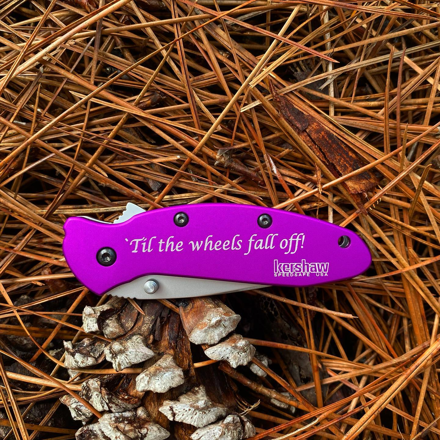 Kershaw Scallion 1620 Purple. Best things in life are used until the wheels fall off!! Enjoy life to the fullest. #1620Purple #bestthingsinlifearepurple #kershawscallion