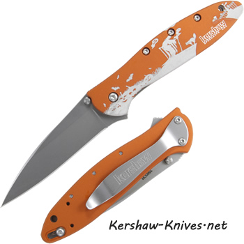 Spooky Kershaw Leek Knife with Orange Halloween Handle