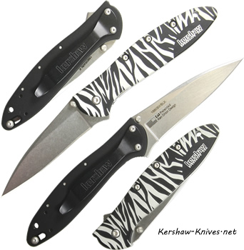 Kershaw Leek Knife with Zebra Handle