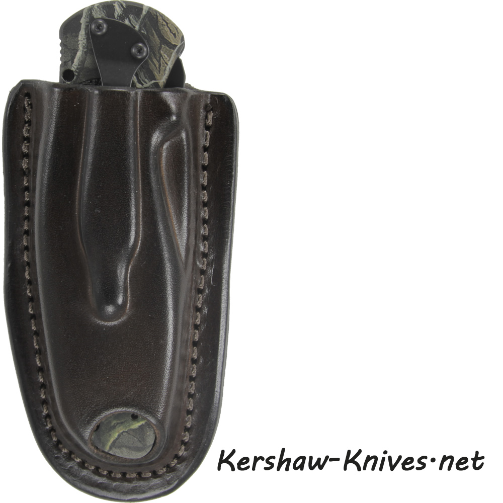 Brown Leather Sheath for Kershaw Blur Knives - Strapless Carry Holster